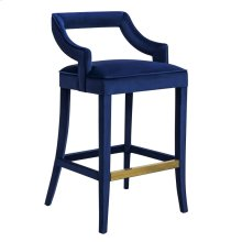 Tiffany Navy Velvet Bar Stool
