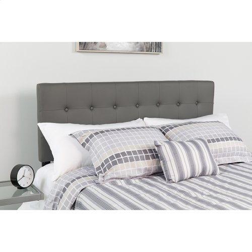 Lennox Tufted Upholstered Queen Size Headboard in Gray Vinyl