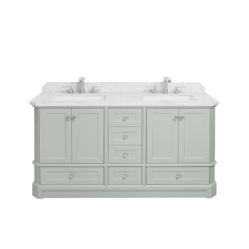 White RICHMOND 60-in Double-Basin Vanity Cabinet with Crema Marble Stone Top and Karo 18x12 Sink