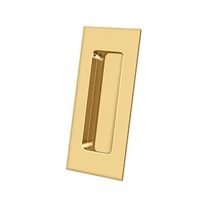 """Flush Pull, Rectangular, HD, 4"""" x 1-7/8"""" x 7/16"""", Solid Brass - PVD Polished Brass Product Image"""