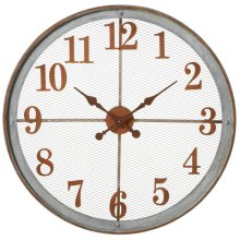 Round Rusted Mesh Wall Clock with Washed Galvanized Frame