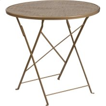 "Commercial Grade 30"" Round Gold Indoor-Outdoor Steel Folding Patio Table"
