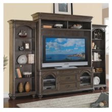 Belmeade 72-Inch TV Console Old World Oak finish and Hutch
