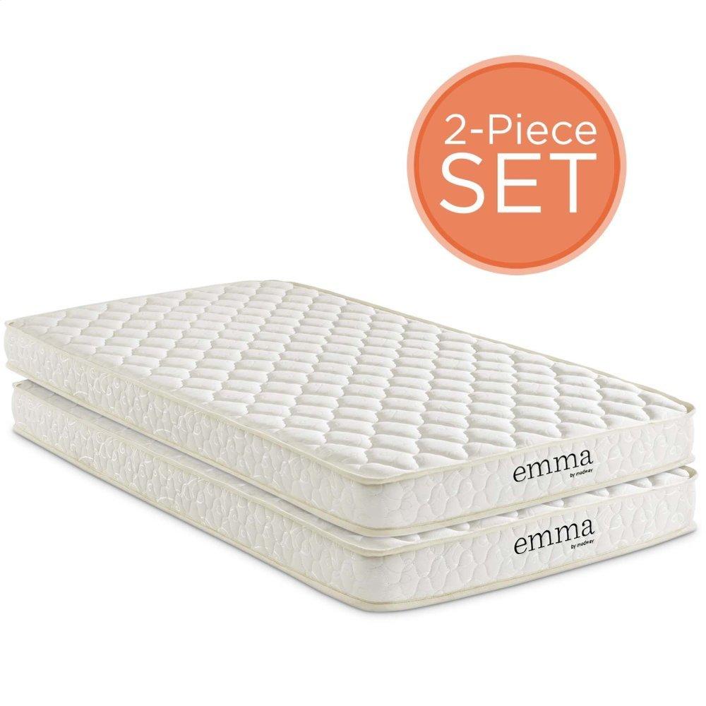 """Emma 6"""" Twin Mattress Foam Set of 2 in White"""
