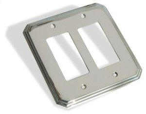 Double GFI Square Deco Switch Plate - Satin Nickel Product Image