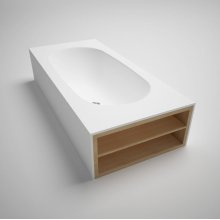 """amanpuri8 blustone bathtub with double-ended shelving, White matte, 91 1/2"""" x 39 1/2""""x 20 1/2"""""""