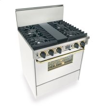 """30"""" Dual Fuel, Convect, Self Clean, Sealed Burners, White with Brass"""