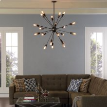 Beam Stainless Steel Chandelier in Gray