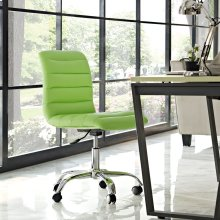 Ripple Armless Mid Back Vinyl Office Chair in Bright Green
