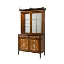 A Laurel Burl and Mother of Pearl Inlaid Library Bookcase