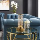 Adore Cylindrical-Shaped Clear Glass And Brass Table Lamp Product Image
