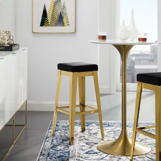 Arrive Gold Stainless Steel Performance Velvet Bar Stool in Gold Black