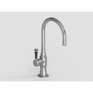 """Brushed Stainless - 7"""" Deck Mount Single Hole Swivel Bar Faucet Spout with Left Black Ceramic Contemporary Lever Product Image"""