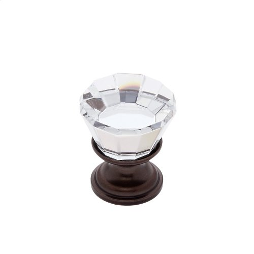 Old World Bronze 22 mm Flat Top Crystal Knob