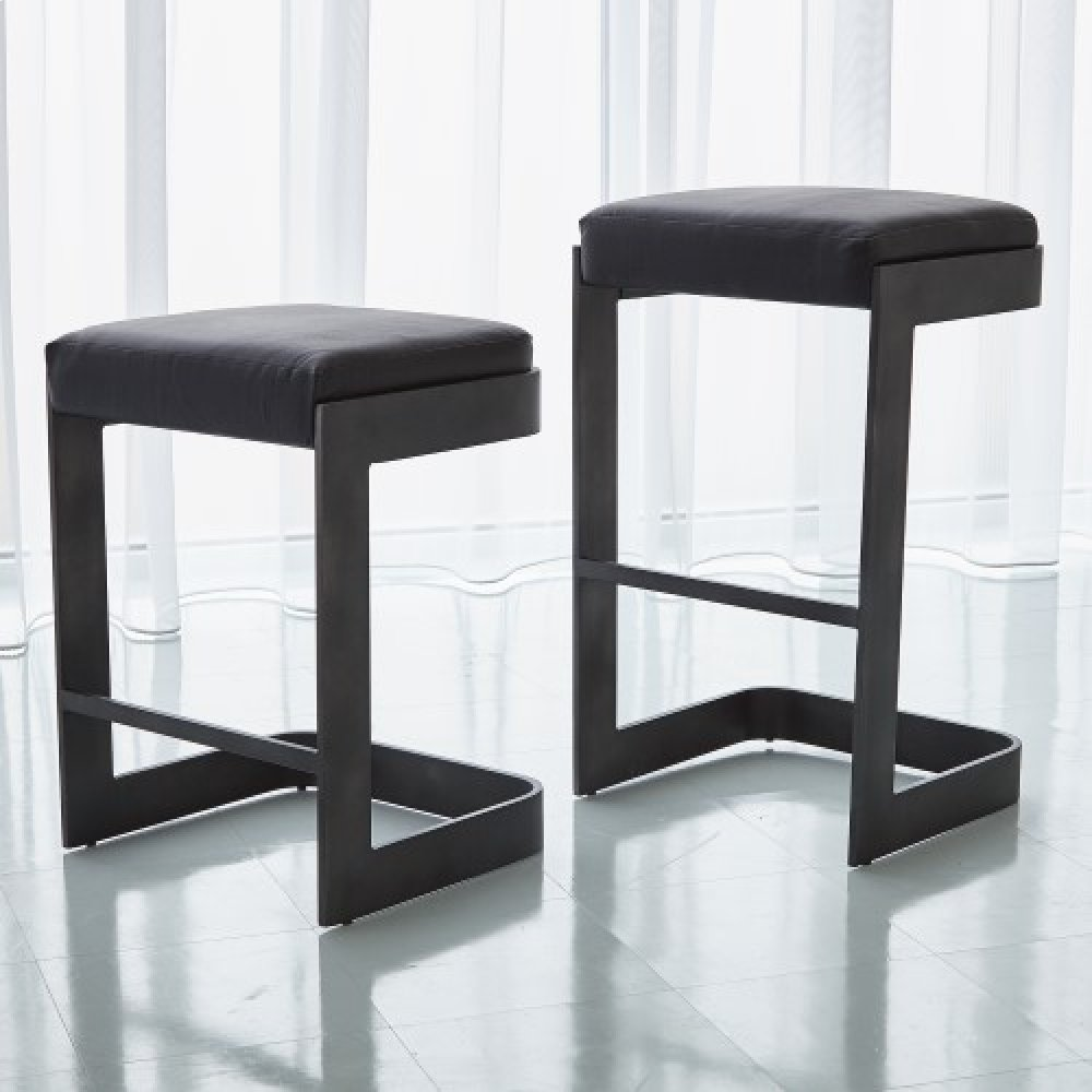 Regan High Bar Stool w/Black Leather-Graphite