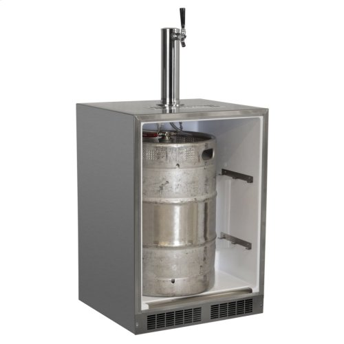 "Outdoor 24"" Single Tap Built In Beer Dispenser with Stainless Steel Door - Solid Stainless Steel Door With Lock - Left Hinge"