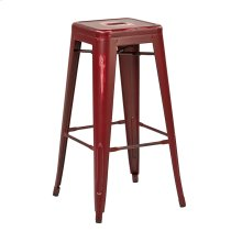 "Bristow 30"" Antique Metal Barstool, Antique Red Finish, 2 Pack"