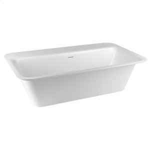 """Freestanding or built-in bathtub in Cristalplant® Matte white L 70-7/8"""" W 37-3/8"""" H 21-5/8"""" Side ledge Possible tap mounting on the ledge Waste included CSA certified Please check if the capacity load of the slab is in comformity with the specifications Please contact Gessi North America for freight terms Product Image"""