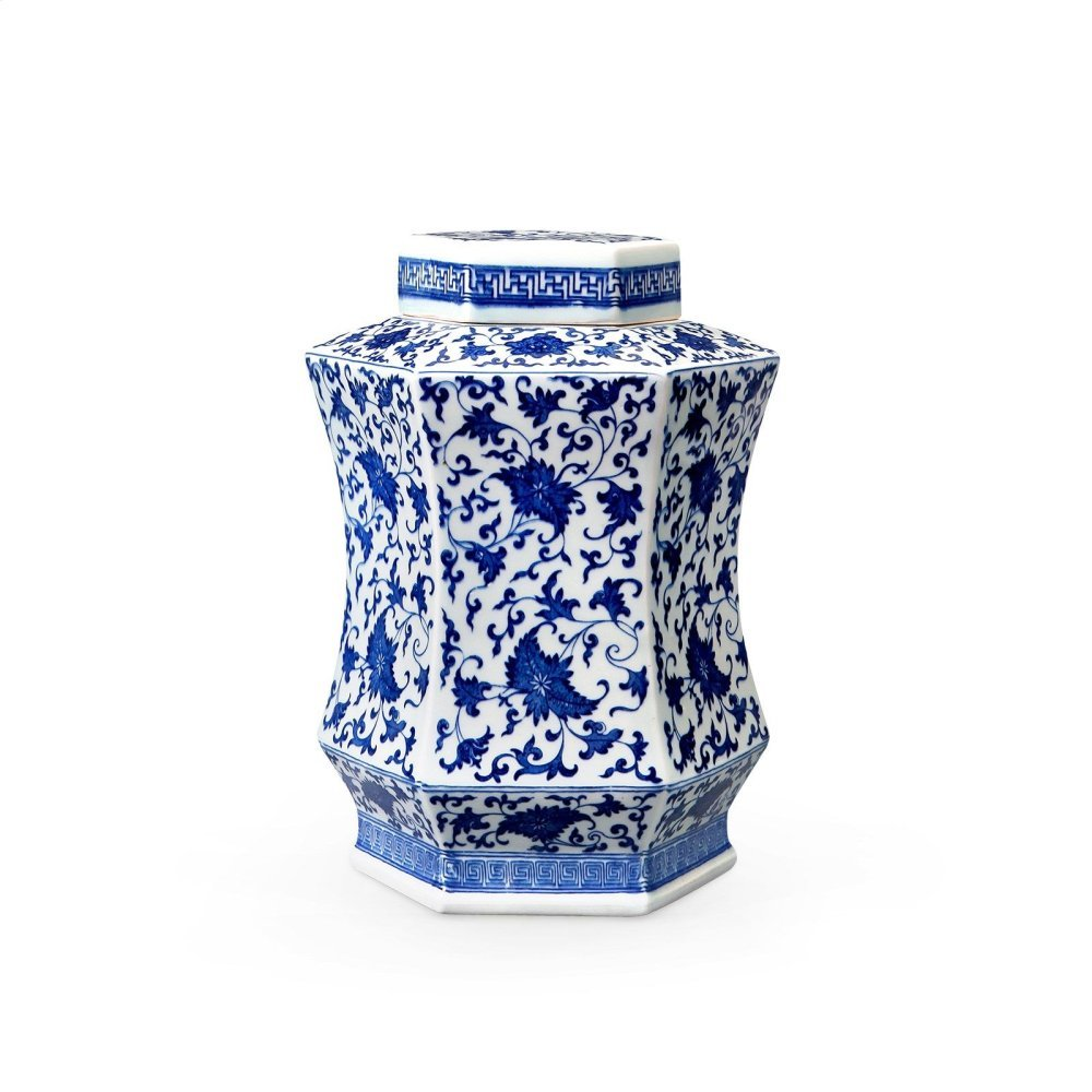 Autumn Covered Hexagonal Jar, Blue & White