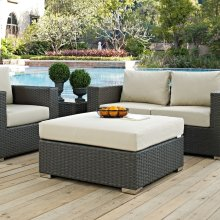 Sojourn Outdoor Patio Sunbrella® Square Ottoman in Canvas Antique Beige