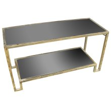 Metal & Black Glass Console Table, Gold