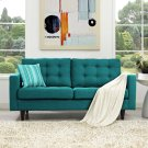 Empress Upholstered Fabric Loveseat in Teal Product Image