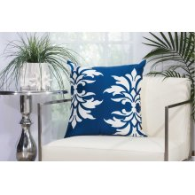 "Outdoor Pillow As065 Navy 20"" X 20"" Throw Pillow"