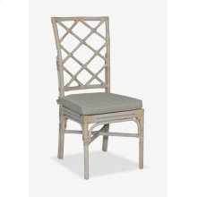 Pembroke Rattan Side Chair With A Repeat Diamond Pattern In A White Wash Finish-MOQ 2 (package: 2pcs
