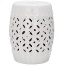 White Lattice Coin Garden Stool - White Product Image