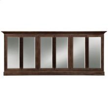 CARVER SIDEBOARD  Aged Brown Finish on Hardwood with Antique Finish Beveled Mirror  6 Door