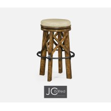 Country Style Walnut & Iron Bar Stool, Upholstered in MAZO