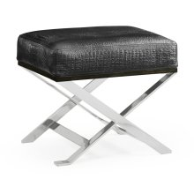 Contemporary White Stainless Steel Stool, Upholstered in Faux Black Croc Leather
