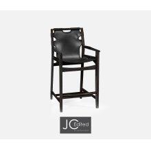 Midcentury Style Slung Black Leather & Black Mocha Oak Counter Stool