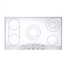"""Stainless Steel/White Glass 36"""" Electric Radiant Cooktop - DECU (36"""" wide, five elements)"""