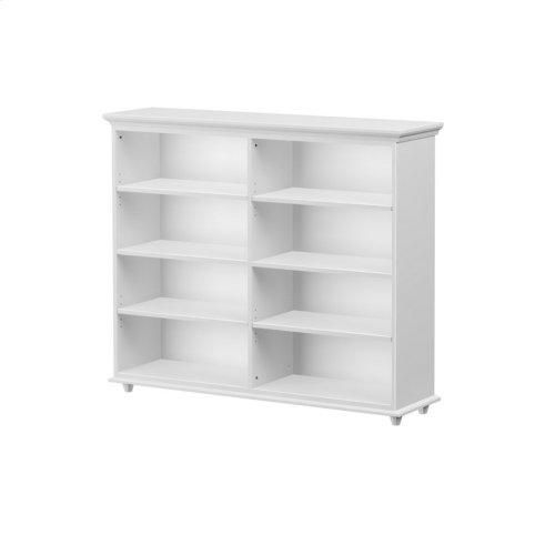 8 Shelf Bookcase w/ Crown & Base : : White :