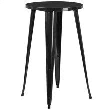 "Commercial Grade 24"" Round Black Metal Indoor-Outdoor Bar Height Table"