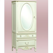 Wardrobe With Decorative Oval Mirror, Hanging Bar and Adjustable Shelves
