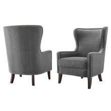 "Rosco Velvet Accent Chair w/ Brass NH Charcoal 30""x36""x42"""
