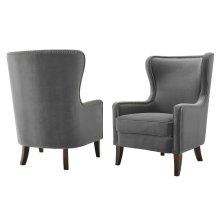 "Rosco Velvet Accent Chair w/ Brass NH Charcoal 30""x36""x42"""