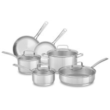 Tri-Ply Stainless Steel 10-Piece Cookware Set - Polished Stainless Steel