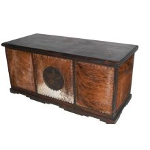 Dark Cowhide Executive Desk W/ Star No Rope