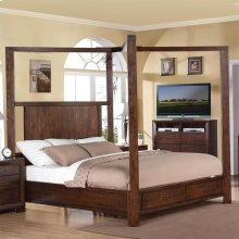 Riata - Queen Poster Bed Canopy - Warm Walnut Finish