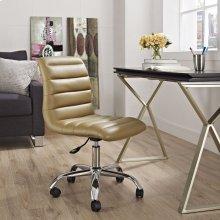 Ripple Armless Mid Back Vinyl Office Chair in Tan