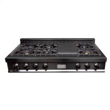 ZLINE 48 in. Porcelain Rangetop in Black Stainless with 7 Gas Burners (RTB-48)