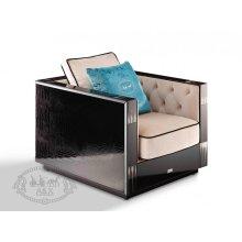 A&X Bellagio Transitional Black Crocodile and Beige Fabric Lounge Chair