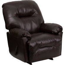 Contemporary Bentley Brown Leather Chaise Rocker Recliner