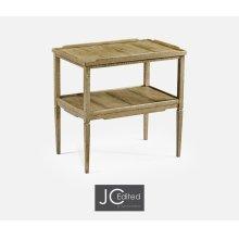 Rectangular Light Driftwood Side Table with Rails & Undertier