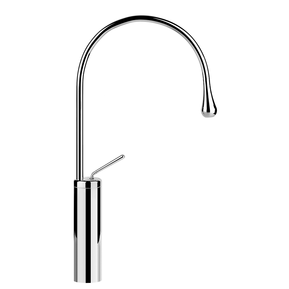 """Tall single lever washbasin mixer without pop-up assembly Spout projection 9-9/16"""" Height 20-5/8"""" Drain not included - See DRAINS section Max flow rate 1"""
