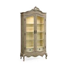 French Provincial Grey Glazed Display Cabinet
