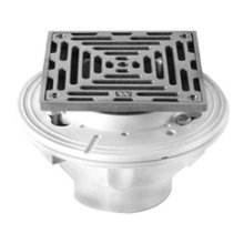 """6"""" Square Complete Shower Drain - PVC - Brushed Nickel"""